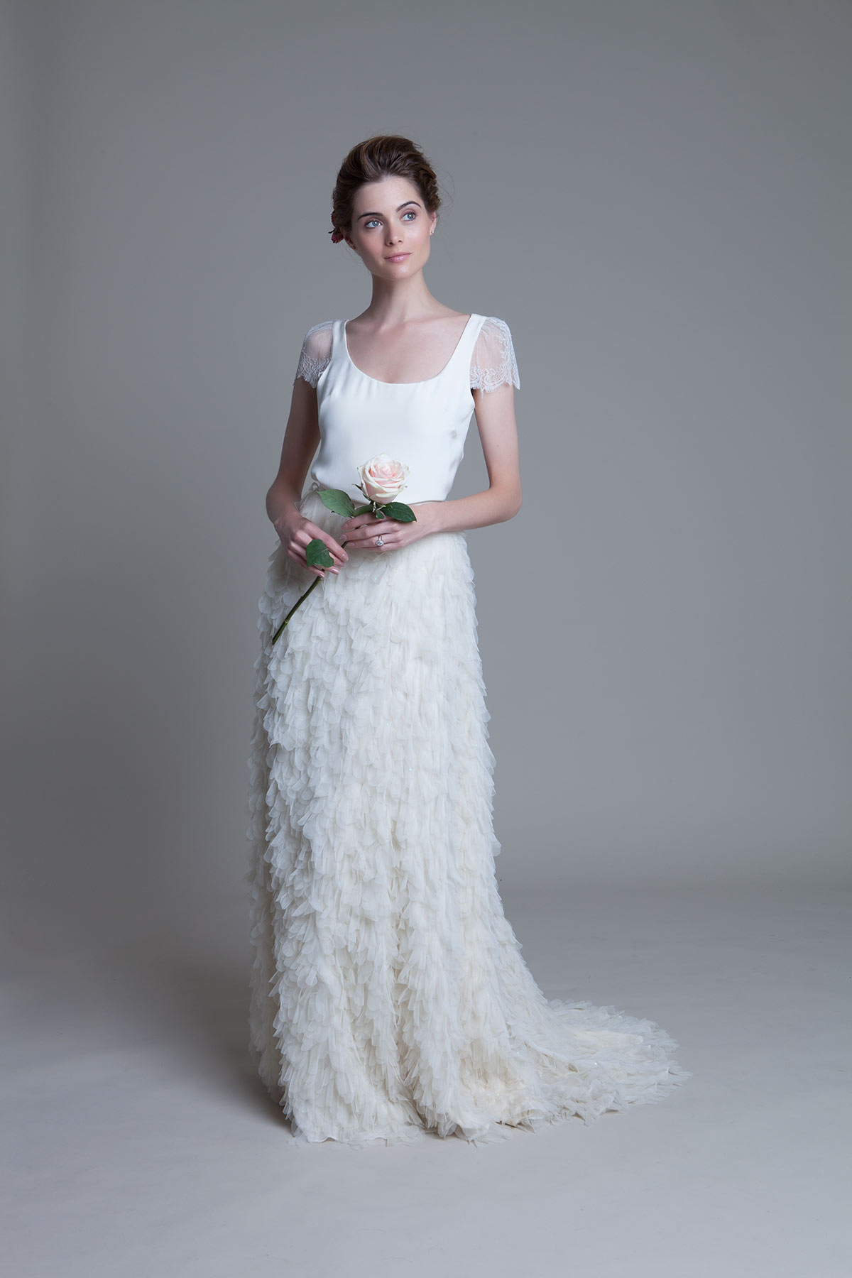 Swan Tee with lace cap sleeves and Swan Skirt by Halfpenny London