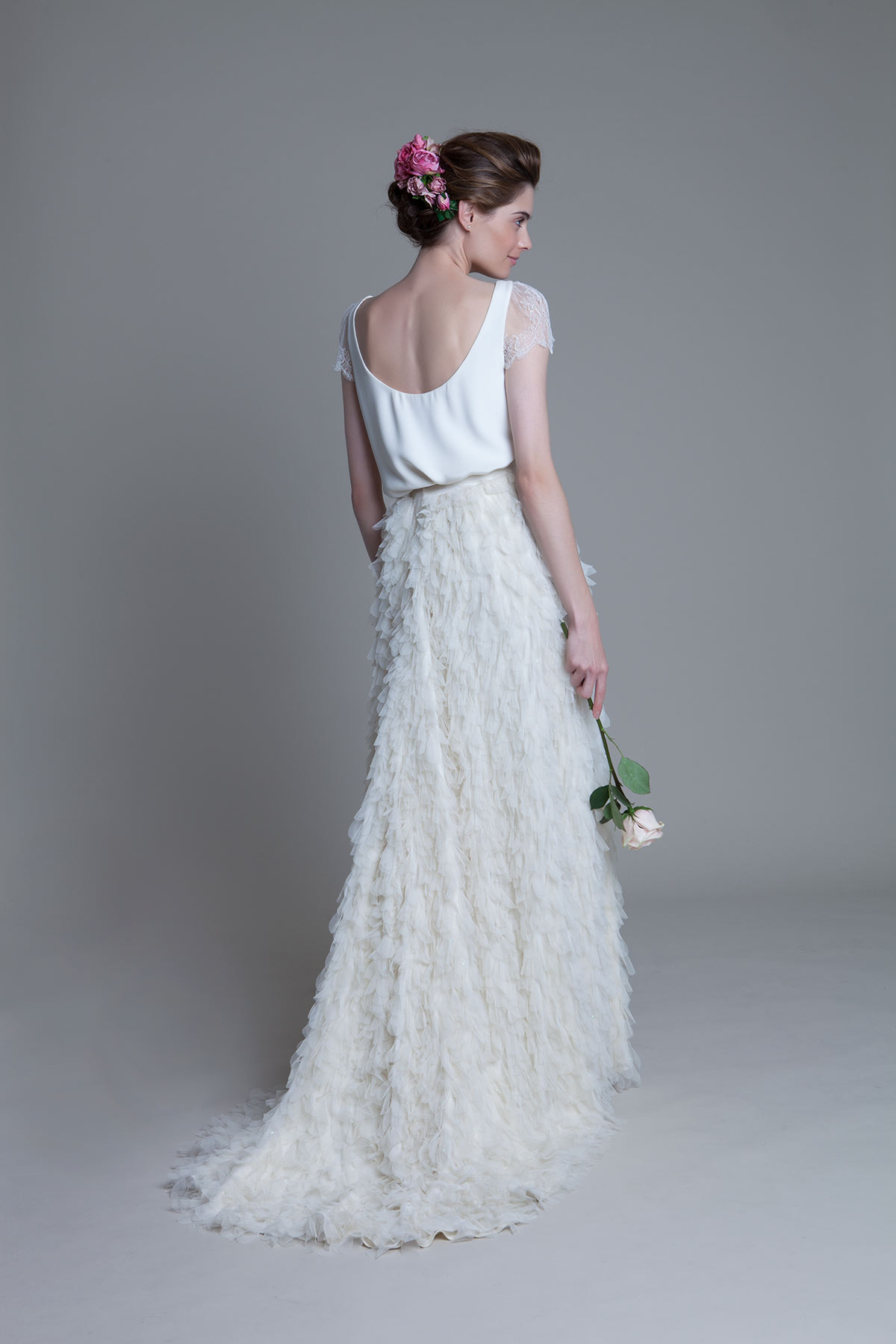 Back view of the Swan Tee with lace cap sleeves and Swan Skirt by Halfpenny London