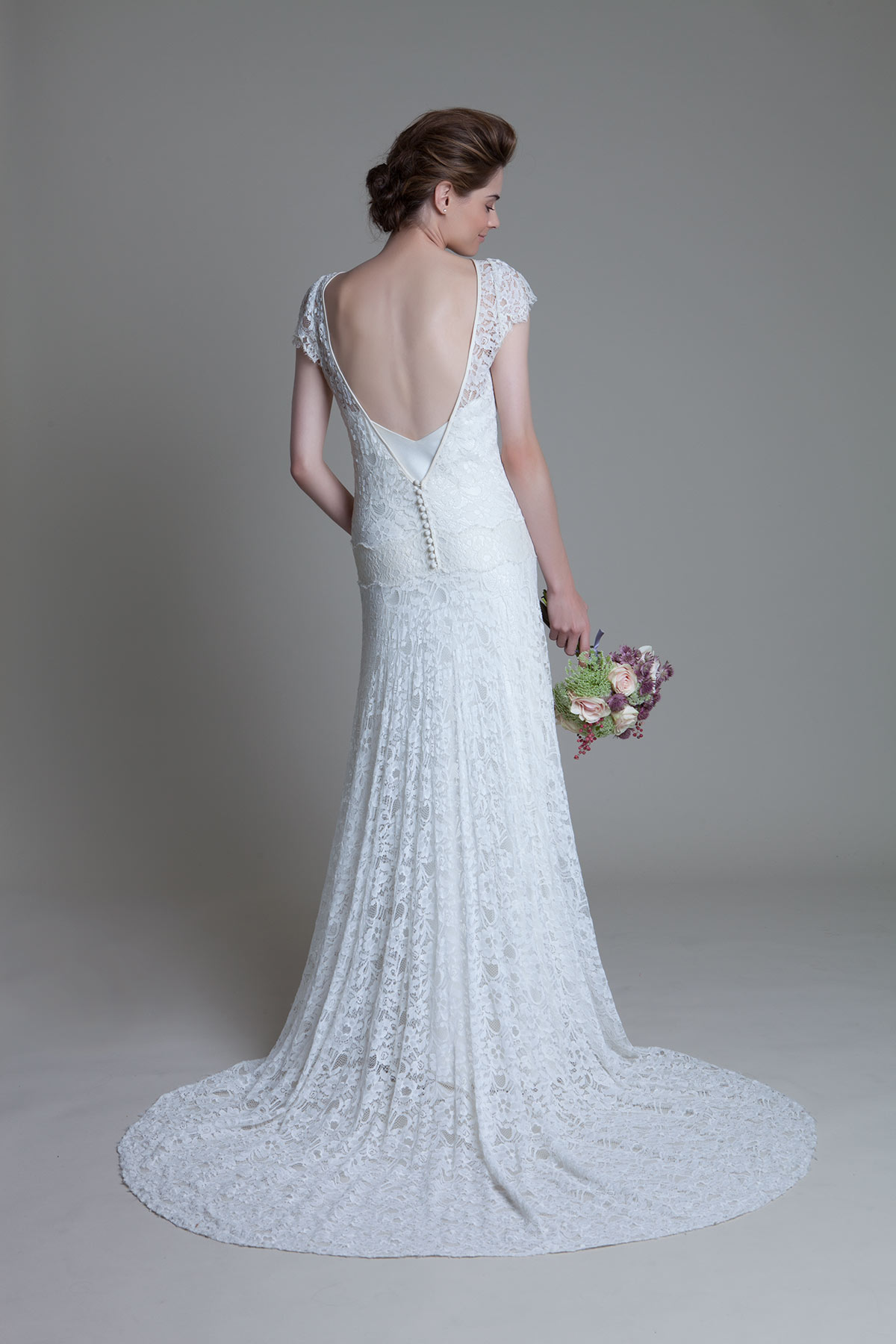 Back view of the Violet lace drop waist wedding dress and Iris V neck ivory slip by Halfpenny London