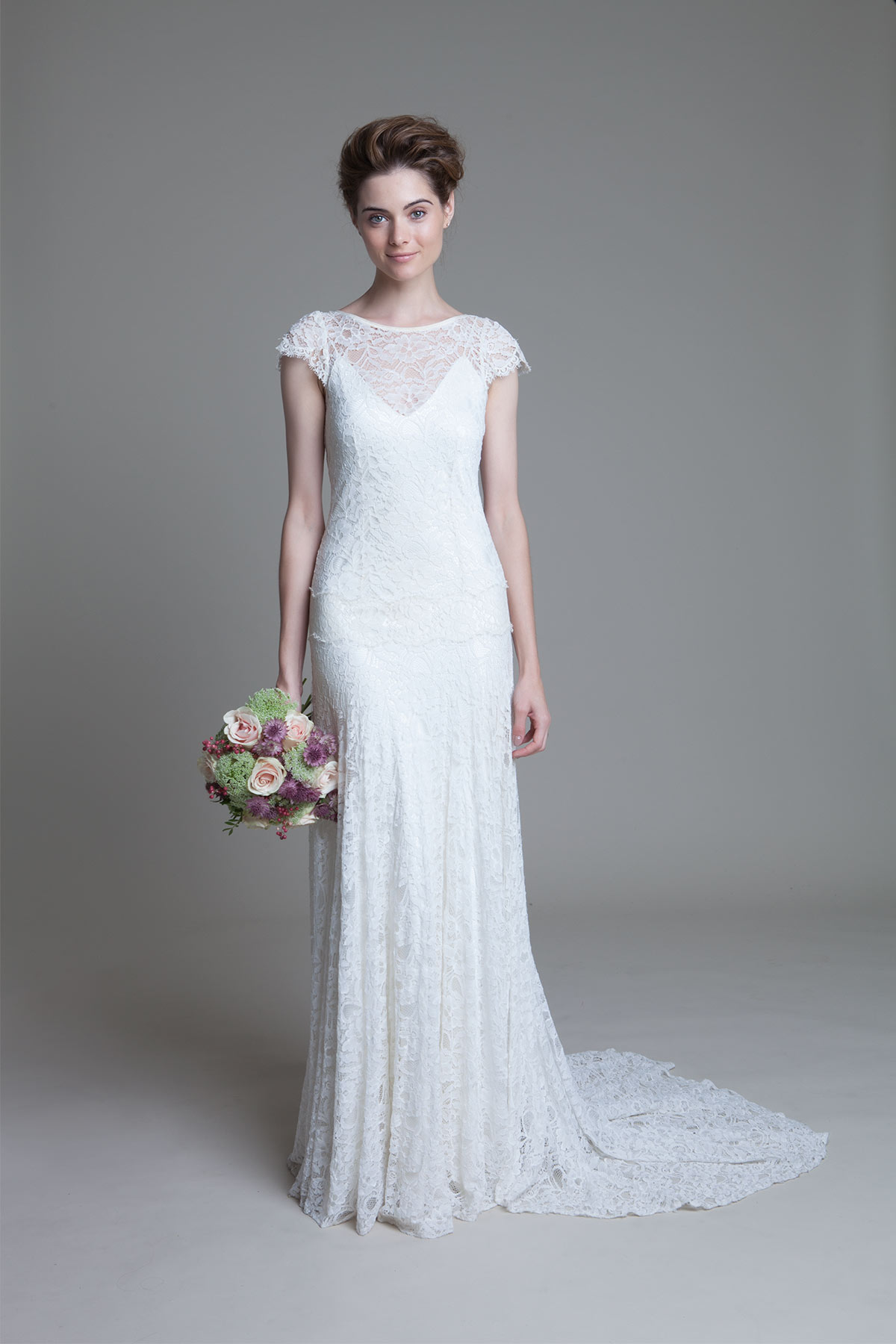 Violet lace drop waist wedding dress and Iris V neck ivory slip by Halfpenny London