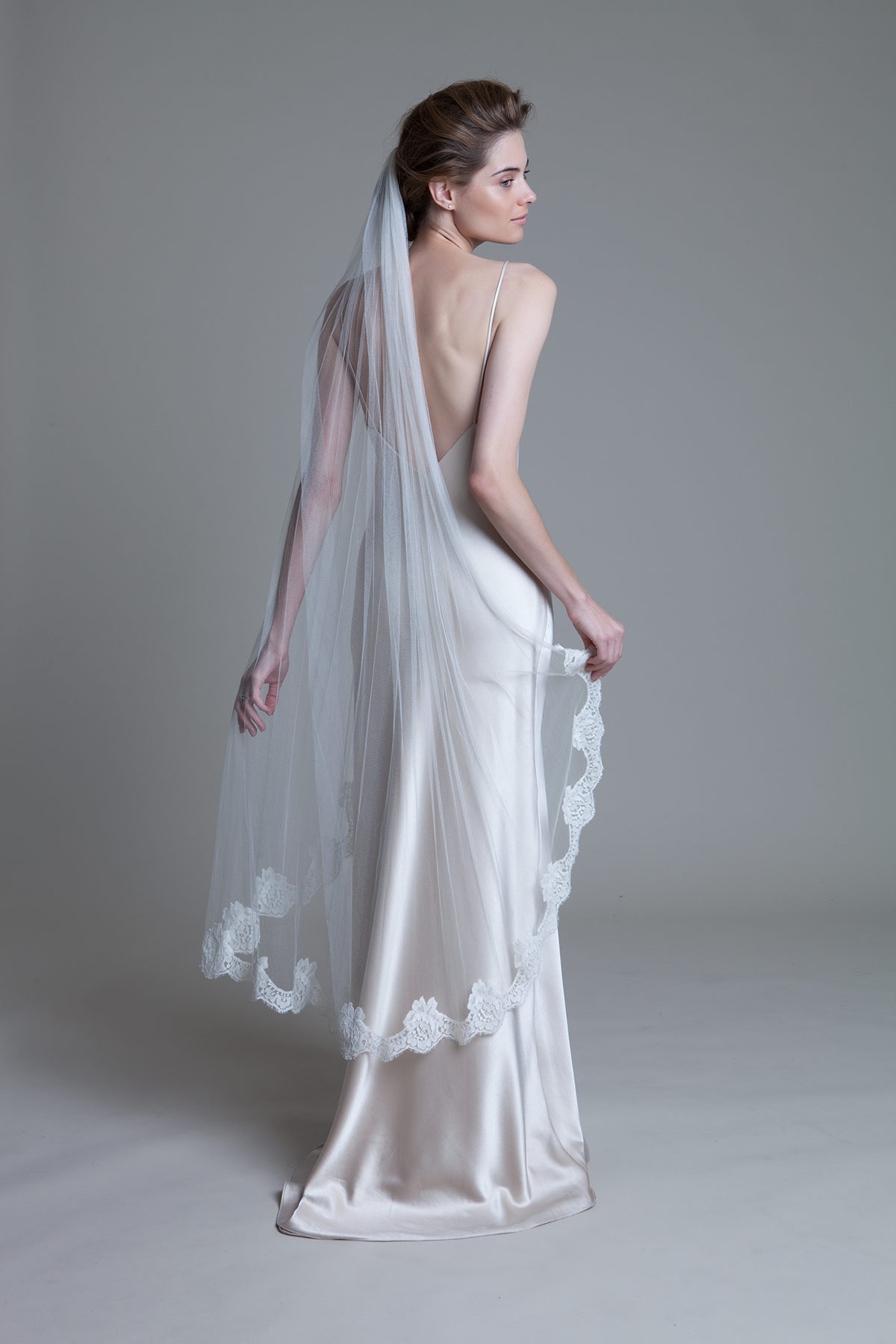 Back view of the silk tulle french lace narrow border bridal wedding vail by Halfpenny London
