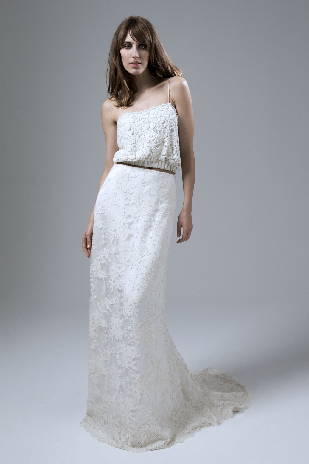 Thea Beaded Camisole and Andrea French Lace Skirt Two Piece Wedding Dress by Halfpenny London