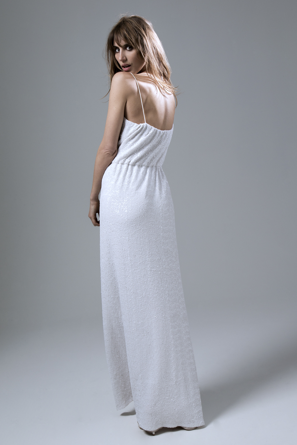 Back of the Celeste Sequinned Dress with High Slit Wedding Dress by Halfpenny London