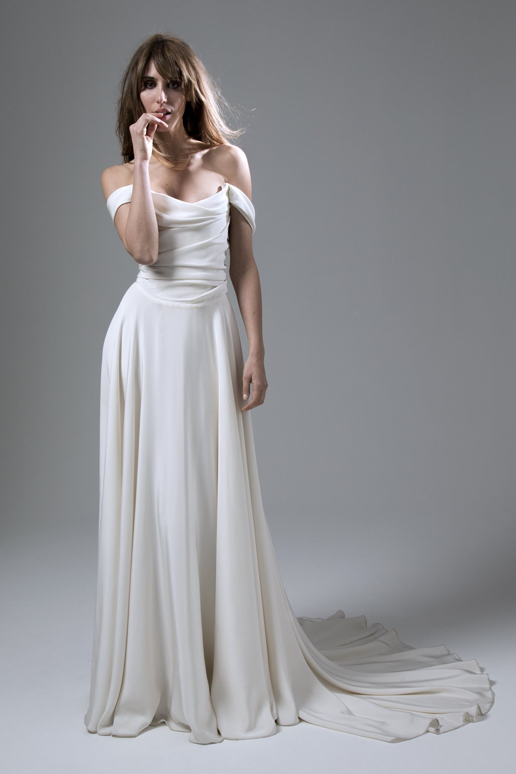 Charlotte Silk Crepe Corset Dress with Full Circle Skirt Wedding Dress by Halfpenny London