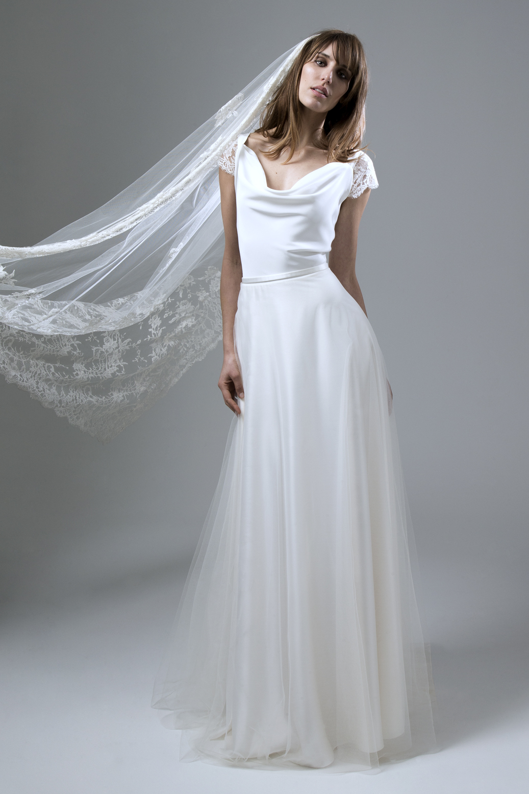 Clare Silk Crepe Cowl Neck with Silk Tulle Circular Skirt Wedding Dress by Halfpenny London