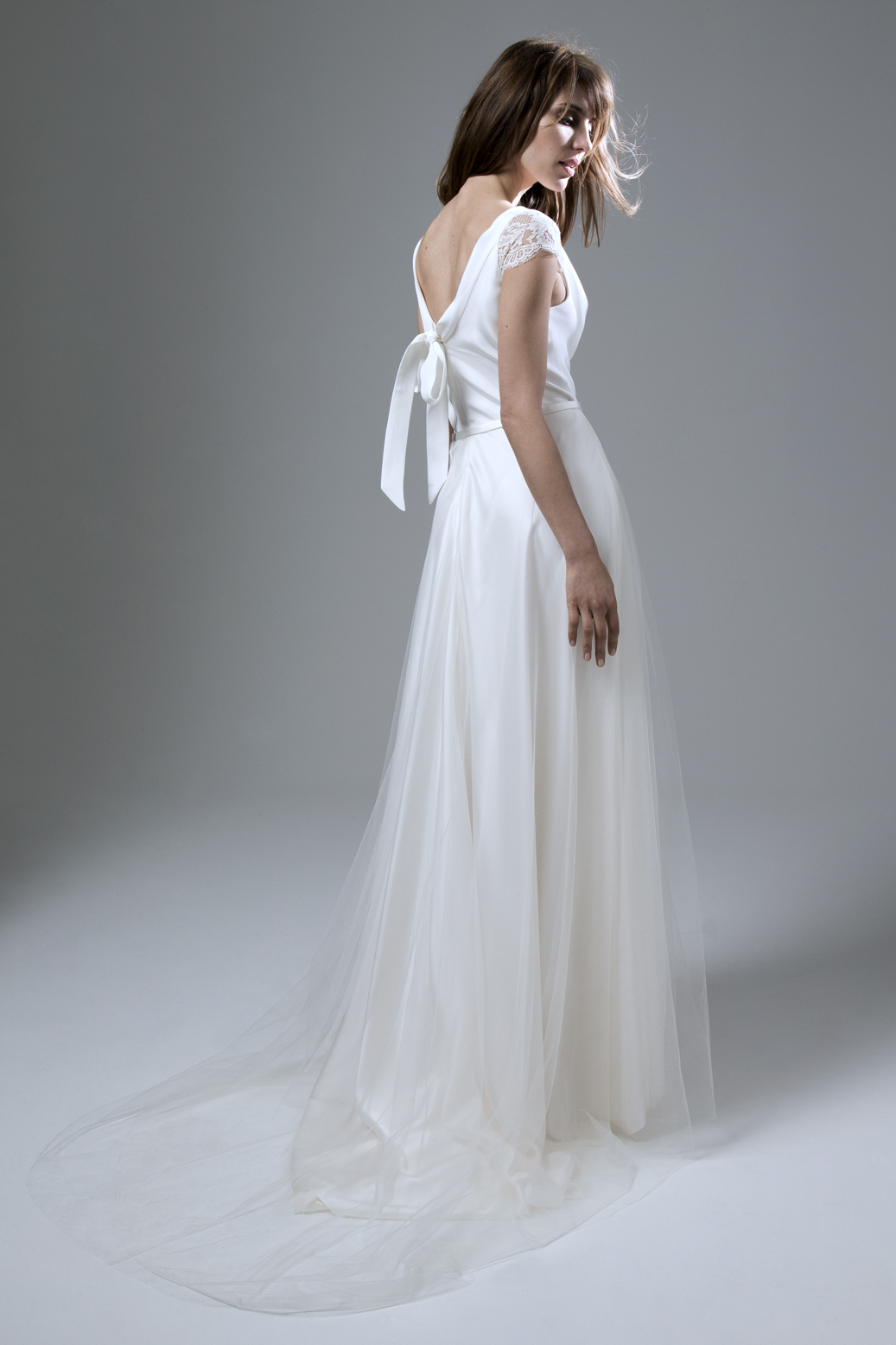 Back of the Clare Silk Crepe Cowl Neck with Silk Tulle Circular Skirt Wedding Dress by Halfpenny London
