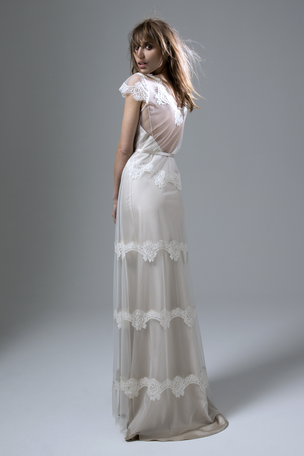 Back View of the Emily Tulle and French Lace Dress with Narrow Belt Wedding Dress by Halfpenny London