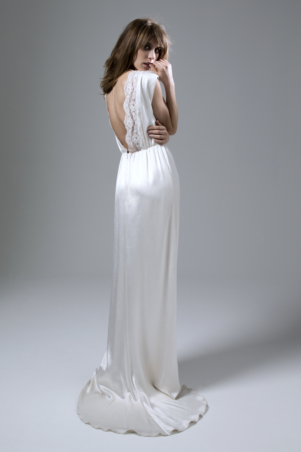 Back view of the Hennie Dress in Hammered Silk and French Lace Trim Wedding Dress by Halfpenny London