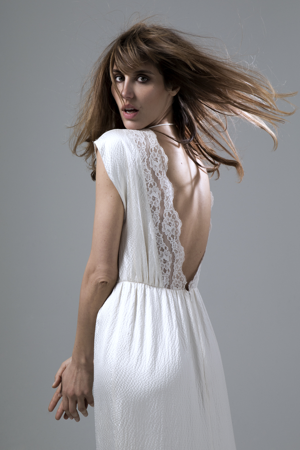 Detailed back view of the Hennie Dress in Hammered Silk and French Lace Trim Wedding Dress by Halfpenny London