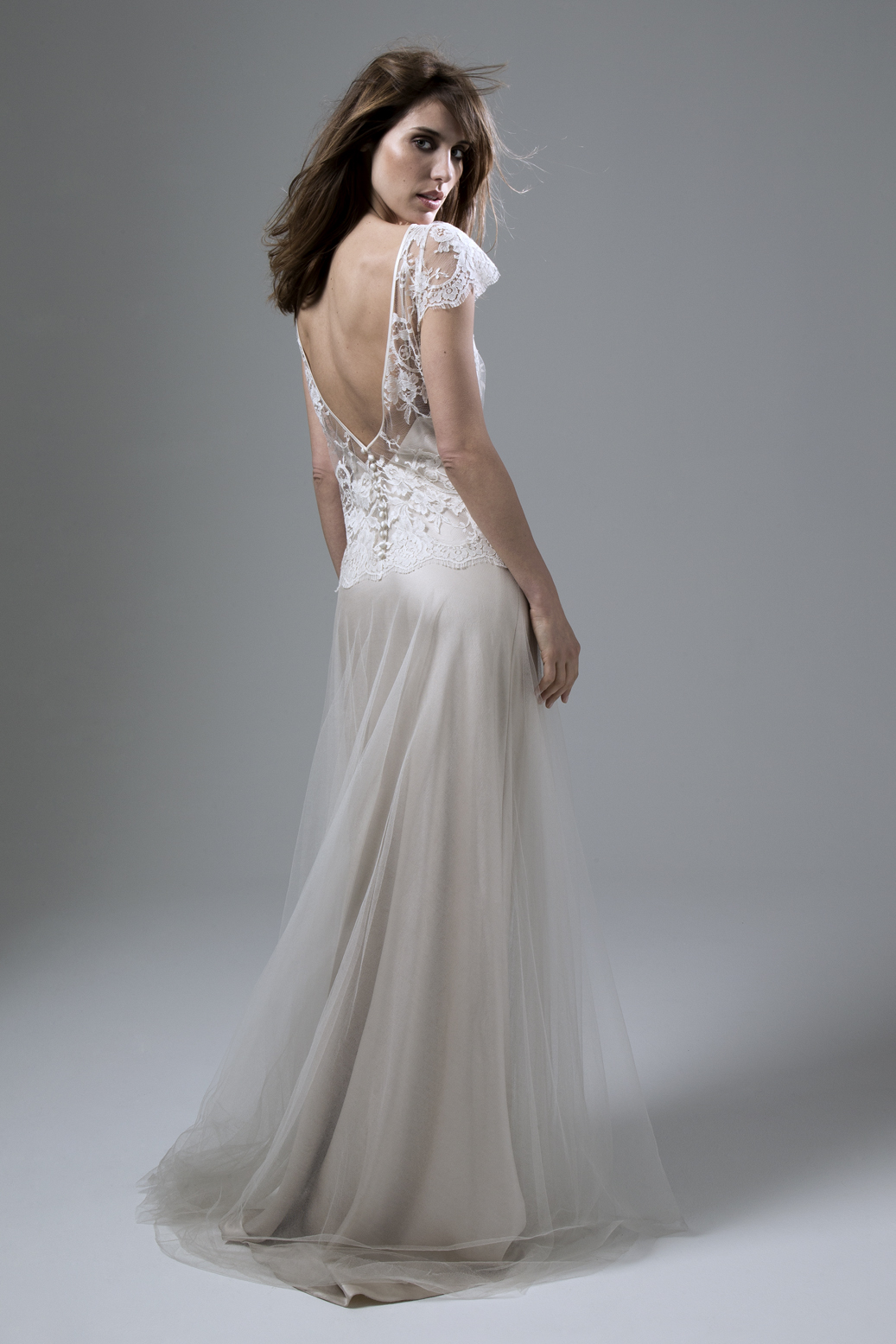 Back View of the Iris Classic Wedding Dress in French Lace and Silk Tulle with a Luxury Simple Blush or Ivory Slip by Halfpenny London