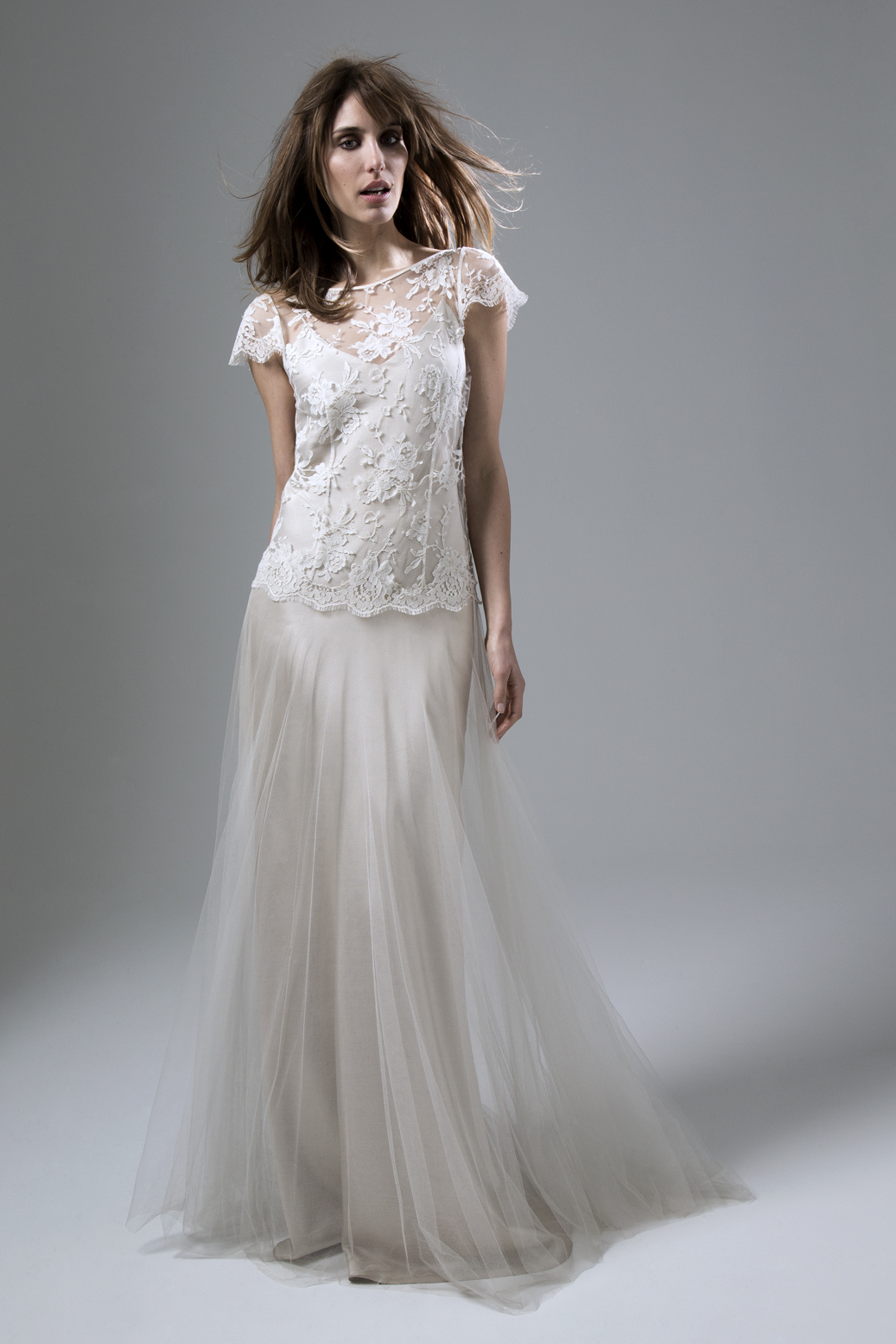 Iris Classic Wedding Dress in French Lace and Silk Tulle with a Luxury Simple Blush or Ivory Slip by Halfpenny London