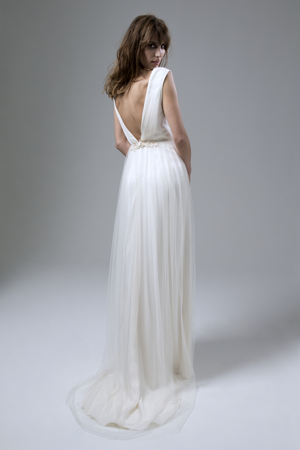 Back of the Clemence Tulle Dress with Guipure Flower Detail Wedding Dress by Halfpenny London