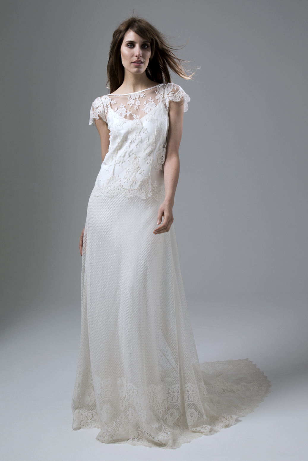 Iris Honey Full French Lace Wedding Dress by Halfpenny London