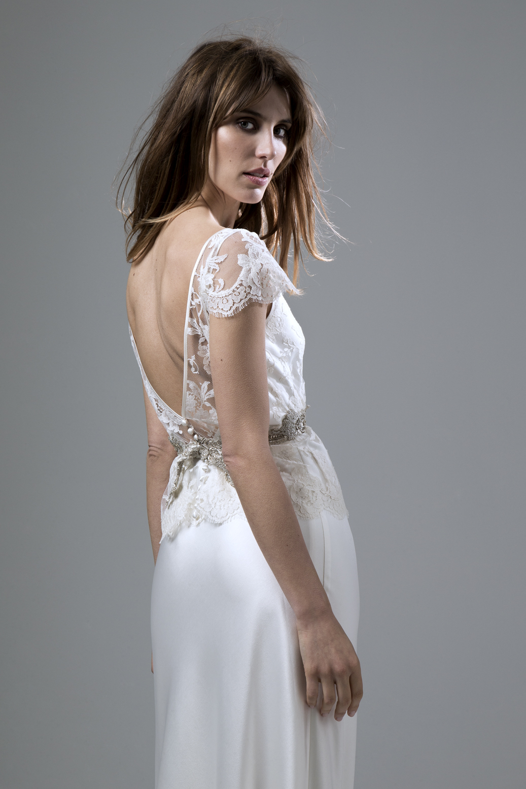 Detailed back view of the Iris French Lace Jacket and Iris low backed satin Slip Wedding Dress by Halfpenny London