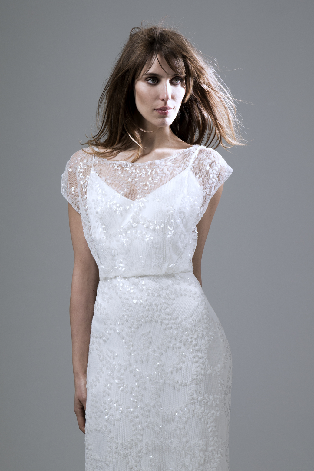 Lydia sequin ivory slash neck dress with puddle train wedding dress by Halfpenny London