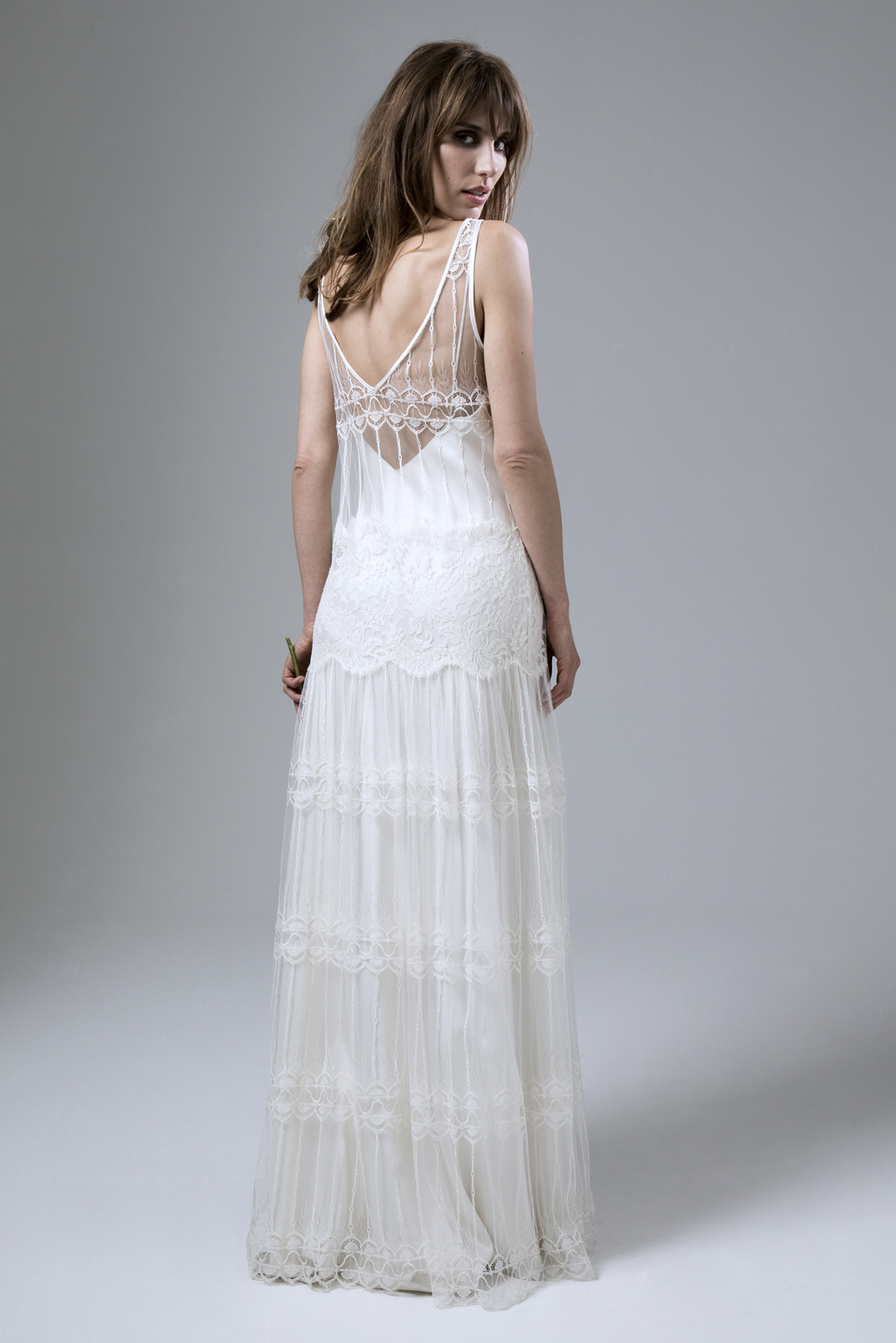 Marilyne V neck French Lace and Back view of the Chantilly lace wedding dress by Halfpenny London