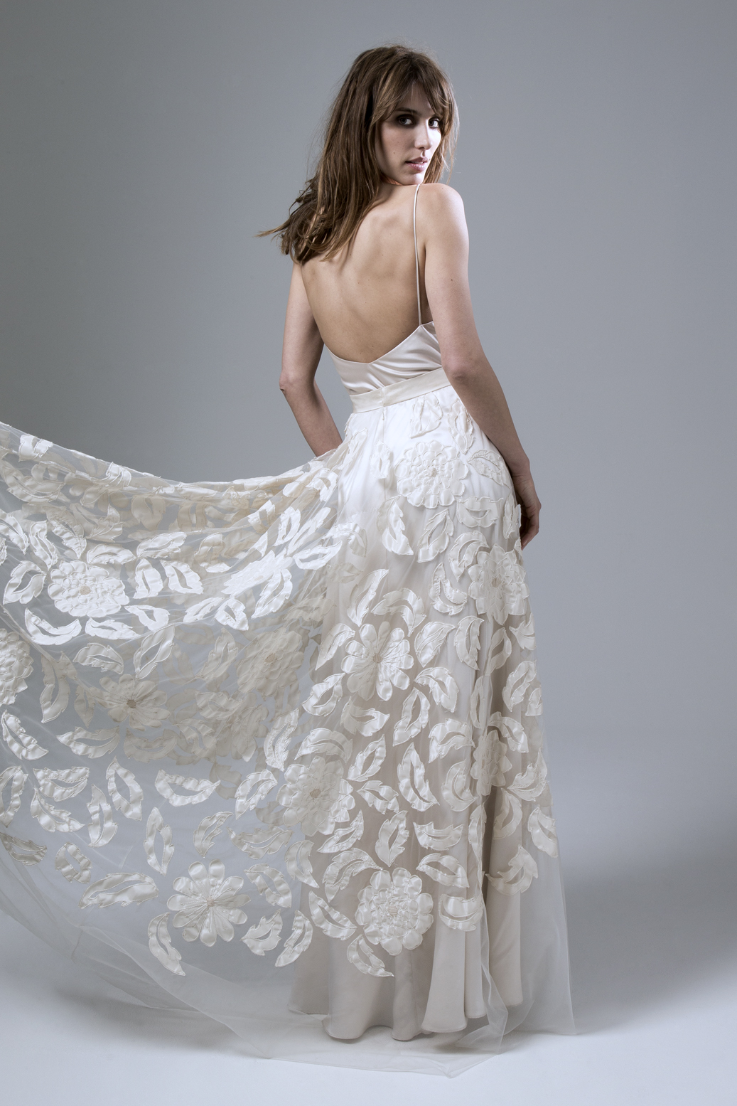 Back view of the Susie hand appliques tulle skirt with Iris backless bias cut slip wedding dress by Halfpenny London