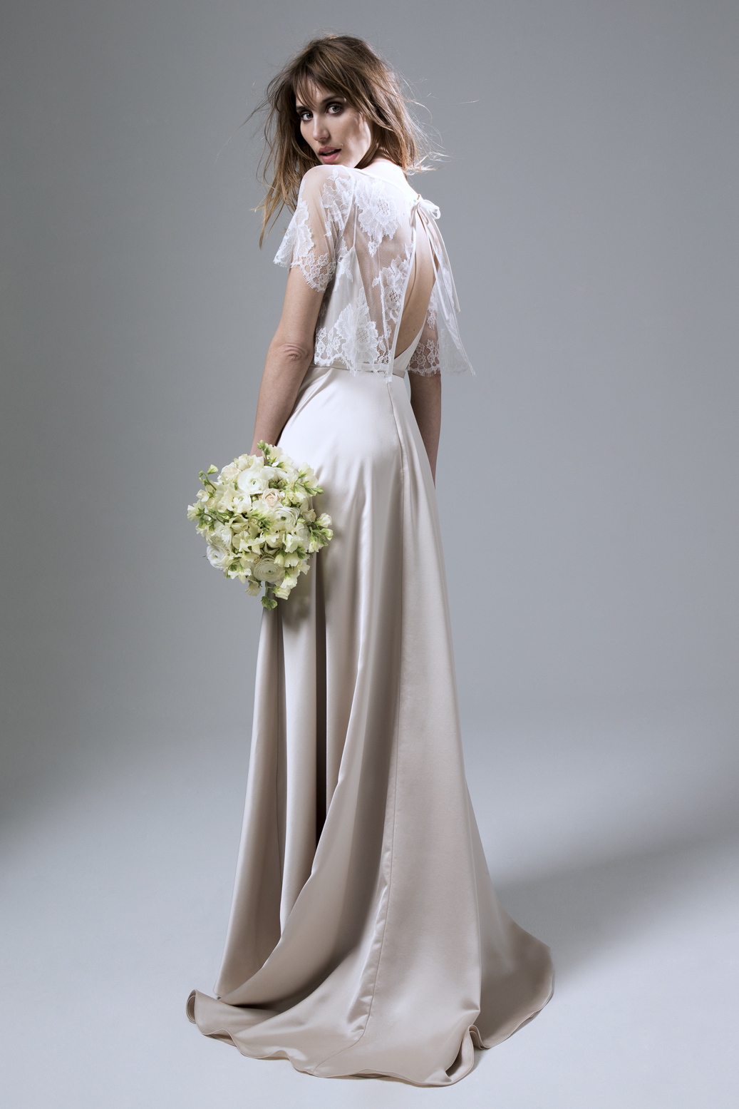 Back Of  the Berry French Lace Jacket and Thea Crepe Back Satin Backless Wedding Dress by Halfpenny London