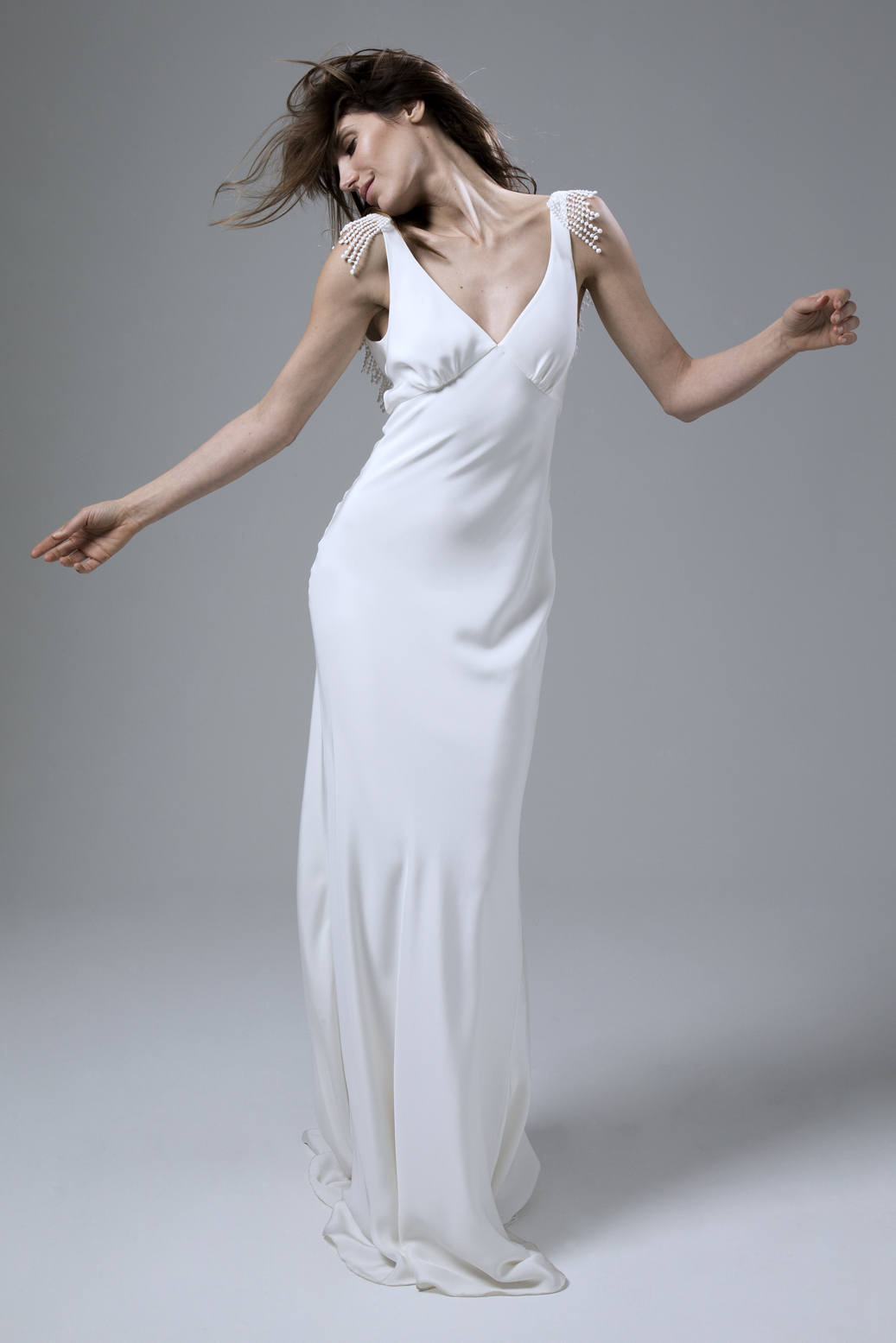 Vera bias cut backless silk crepe dress with french embroidery wedding dress by Halfpenny London
