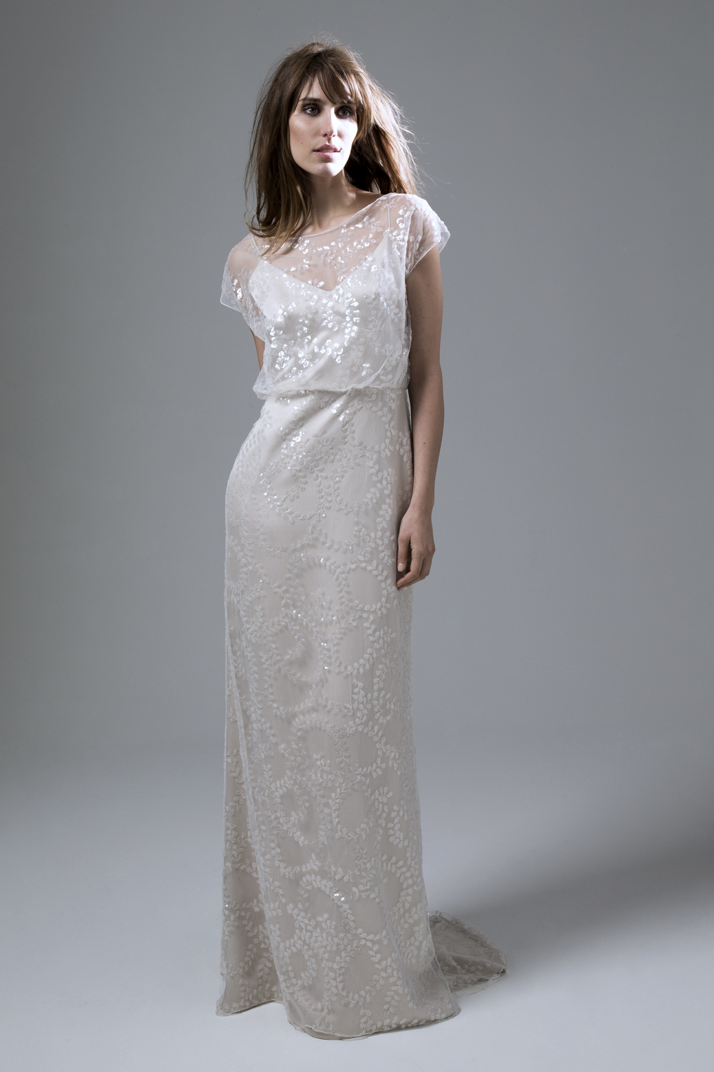 Lydia sequin blush slash neck Wedding Dress with puddle train by Halfpenny London