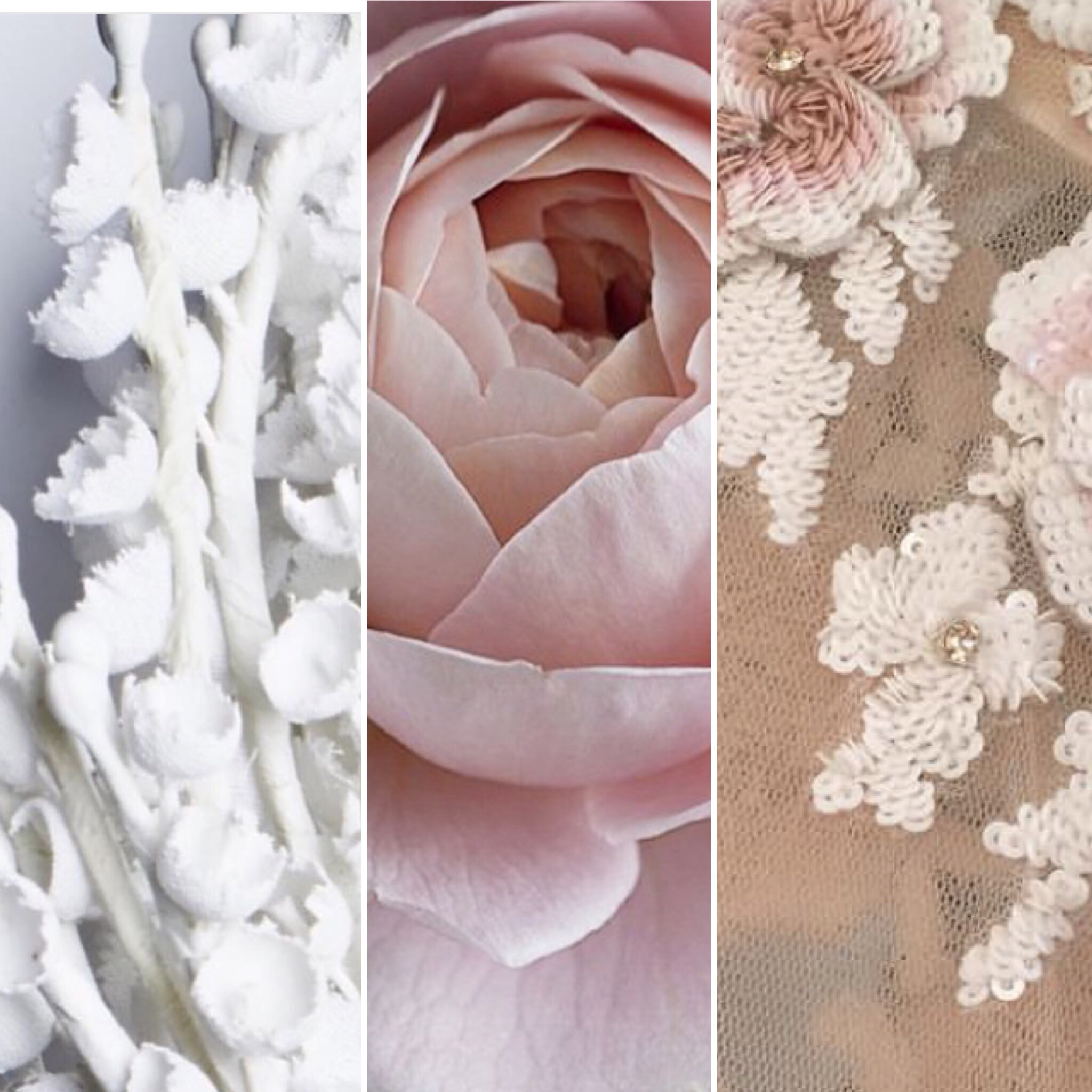 Roses and sequins and porcelain flowers.