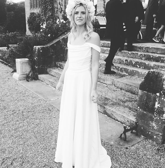 Our beautiful bride Annabel wearing the Italian Silk crepe Charlotte wedding dress by Halfpenny London with draped corset top