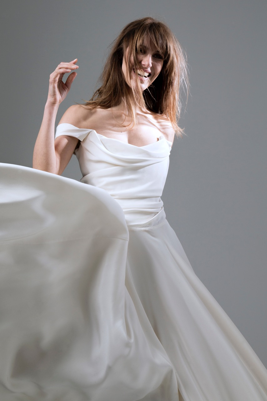 Italian Silk crepe Charlotte wedding dress by Halfpenny London with draped corset top