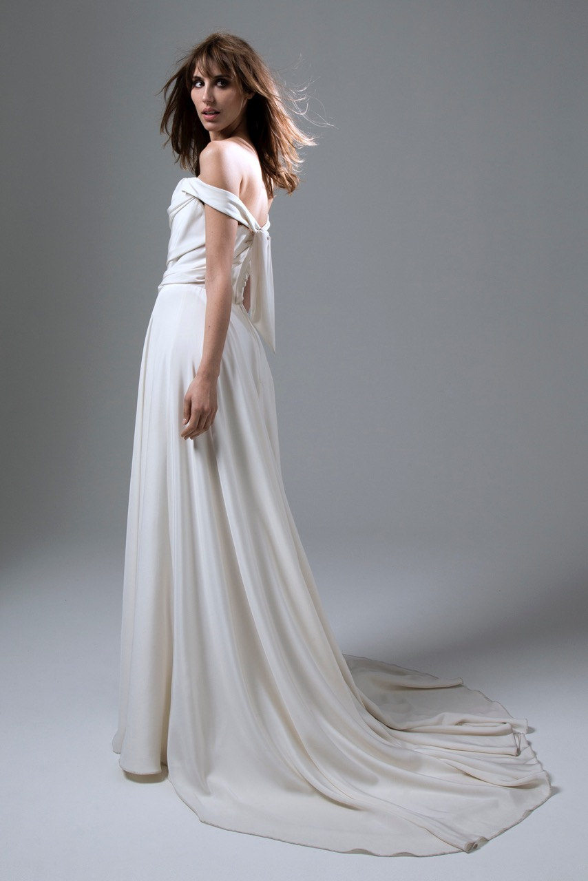 Back view of Italian Silk crepe Charlotte wedding dress by Halfpenny London with draped corset top