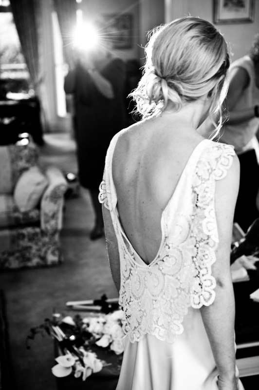 Silk crepe bias cut Vera wedding dress with bespoke lace detail and plunging low back by Halfpenny London