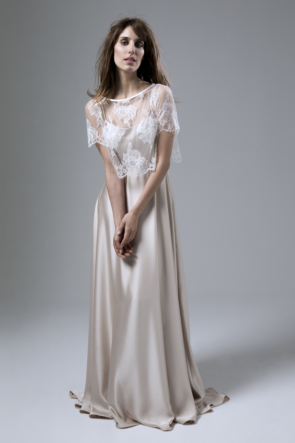 The Halfpenny London wedding dress of the week is our subtly glamorous blush satin Thea backless dress and the beautifully delicate Berry French lace jacket