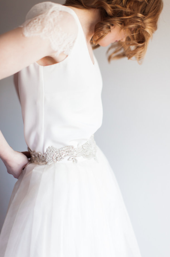 Lovely Anne wears the Halfpenny London silk crepe Swan tee with Chantilly lace capped sleeves and Silk organza Lola high low hem skirt styled with Italian silver embroidered belt for her wedding