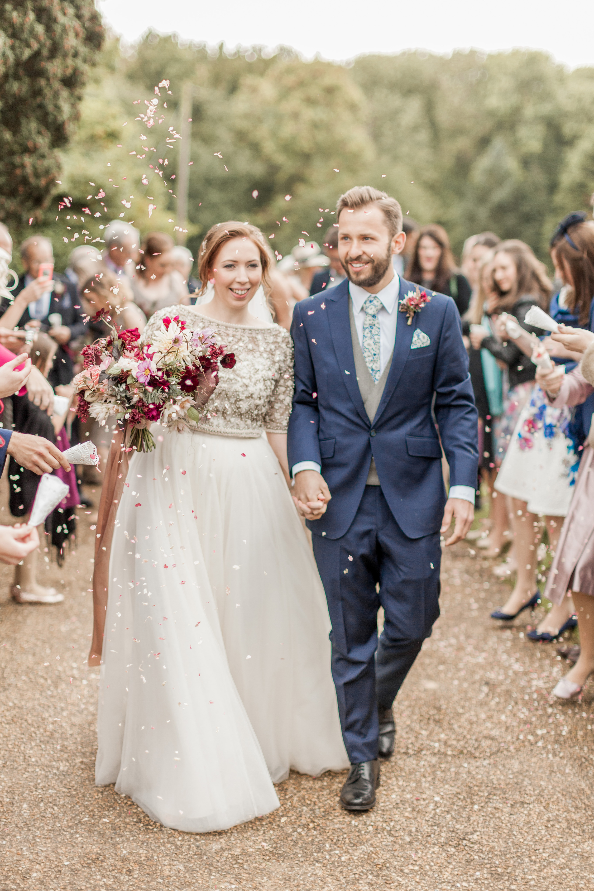 Lovely Halfpenny London bride Helen wears the Dita tulle skirt worn with a satin cami and the Virginia Beaded Jacket