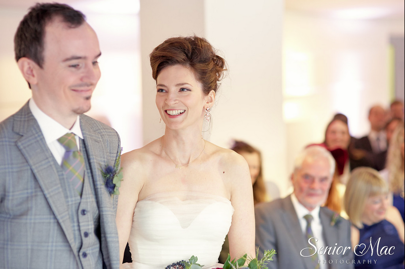 Stunning bride Holly wears the Dita organza skirt with a bespoke Dita corset covered in tulle by Halfpenny London