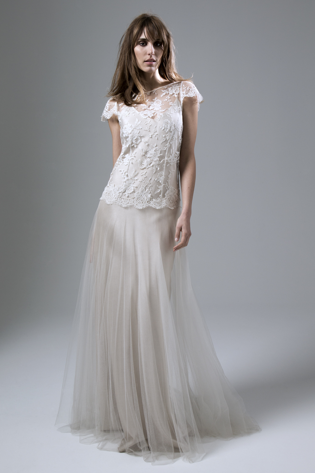 Iris Blush lace and soft tulle wedding dress by Halfpenny London