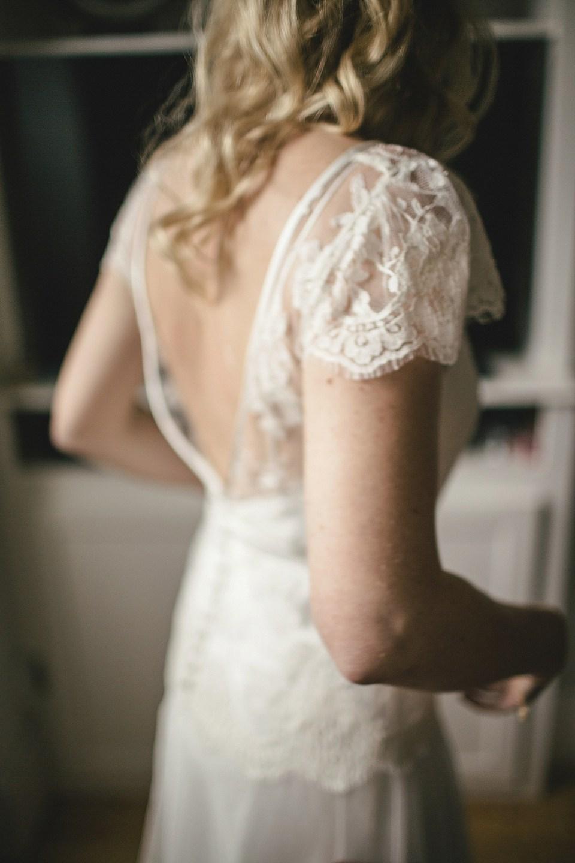 Backless Cap Sleeve Wedding Dress by Halfpenny London