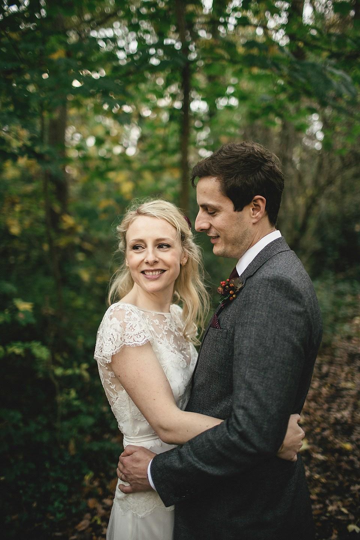 Backless lace cap sleeve wedding dress by Halfpenny London