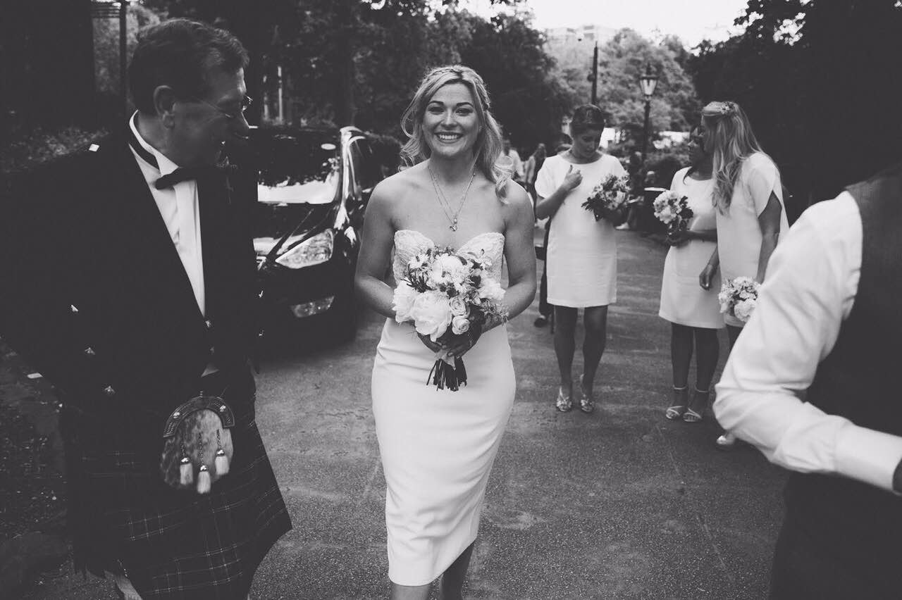 Beautiful Halfpenny London bride Katie wears the Dita bustier in hand beaded French lace with a bespoke pencil skirt in Silk crepe