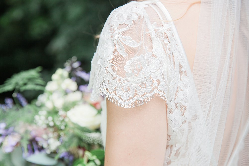 Gorgeous bride Sarah wears Iris lace wedding dress by Halfpenny London