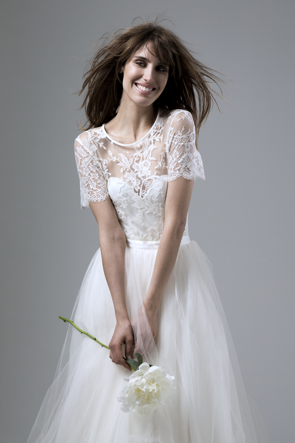 ANNABEL FRENCH LACE TEE PAIRED WITH THE DITA CORSET AND DITA SILK TULLE SKIRT DESIGNED BY HALFPENNY LONDON