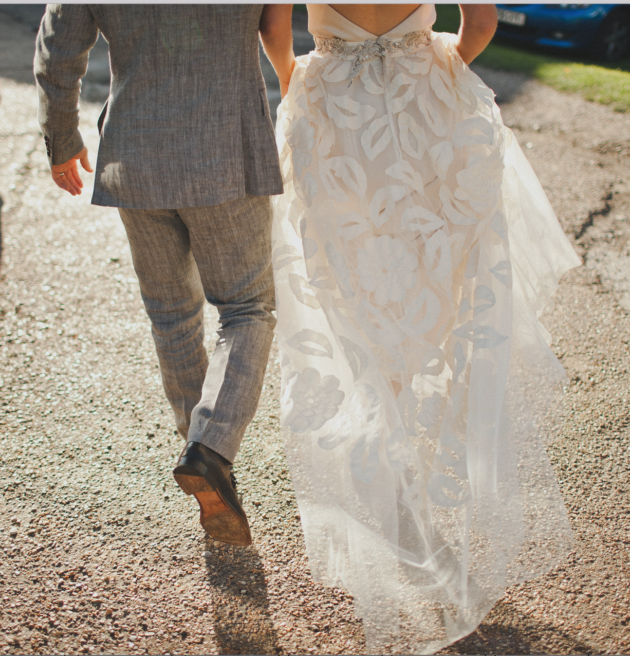 Our lovely real bride Antonia wears the Susie skirt and Iris slip - Wedding dress by Halfpenny London
