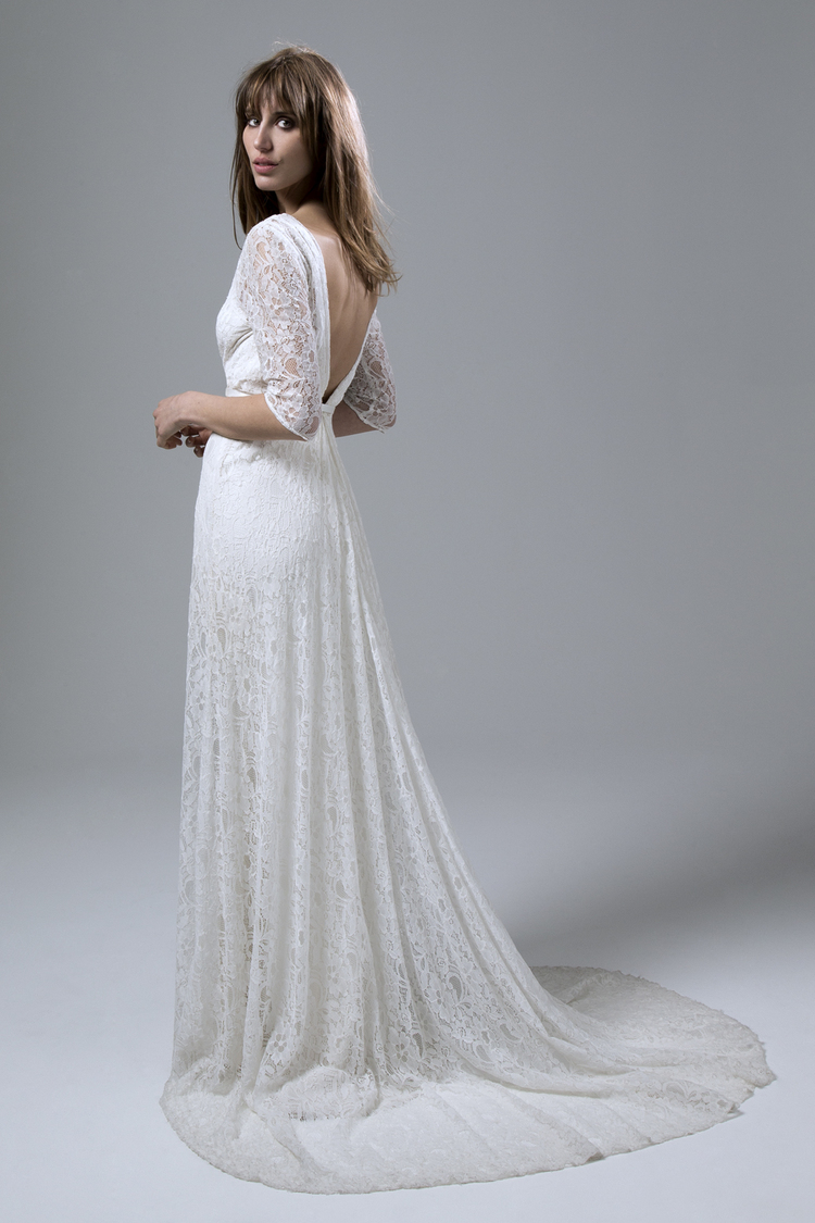 JOSEPHINE WRAP FRONT FULL LACE WEDDING DRESS WITH A LOW V BACK BY HALFPENNY LONDON