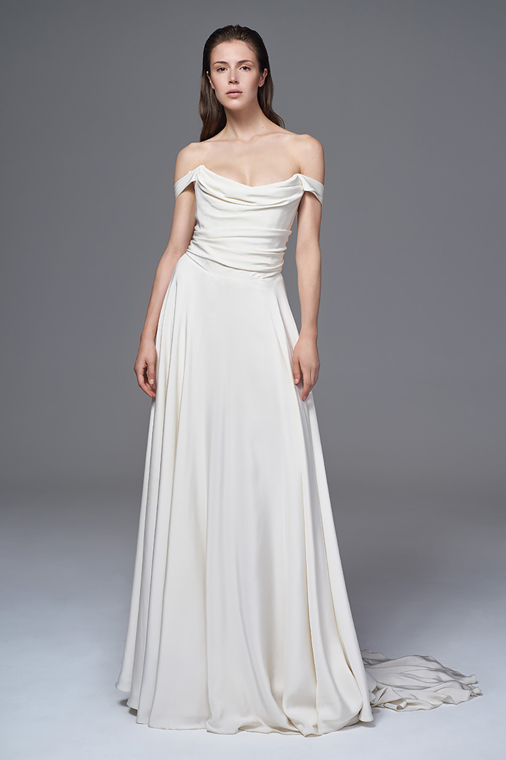 THE CHARLOTTE CORSET DRESS IN IVORY SILK CREPE OFF THE SHOULDER BRIDAL WEDDING DRESS BY HALFPENNY LONDON