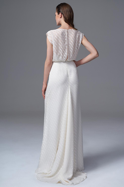 THE CHLOE POLKA DOT CHIFFON DRESS WITH SLASH NECK AND GODET TRAIN. BRIDAL WEDDING DRESS BY HALFPENNY LONDON