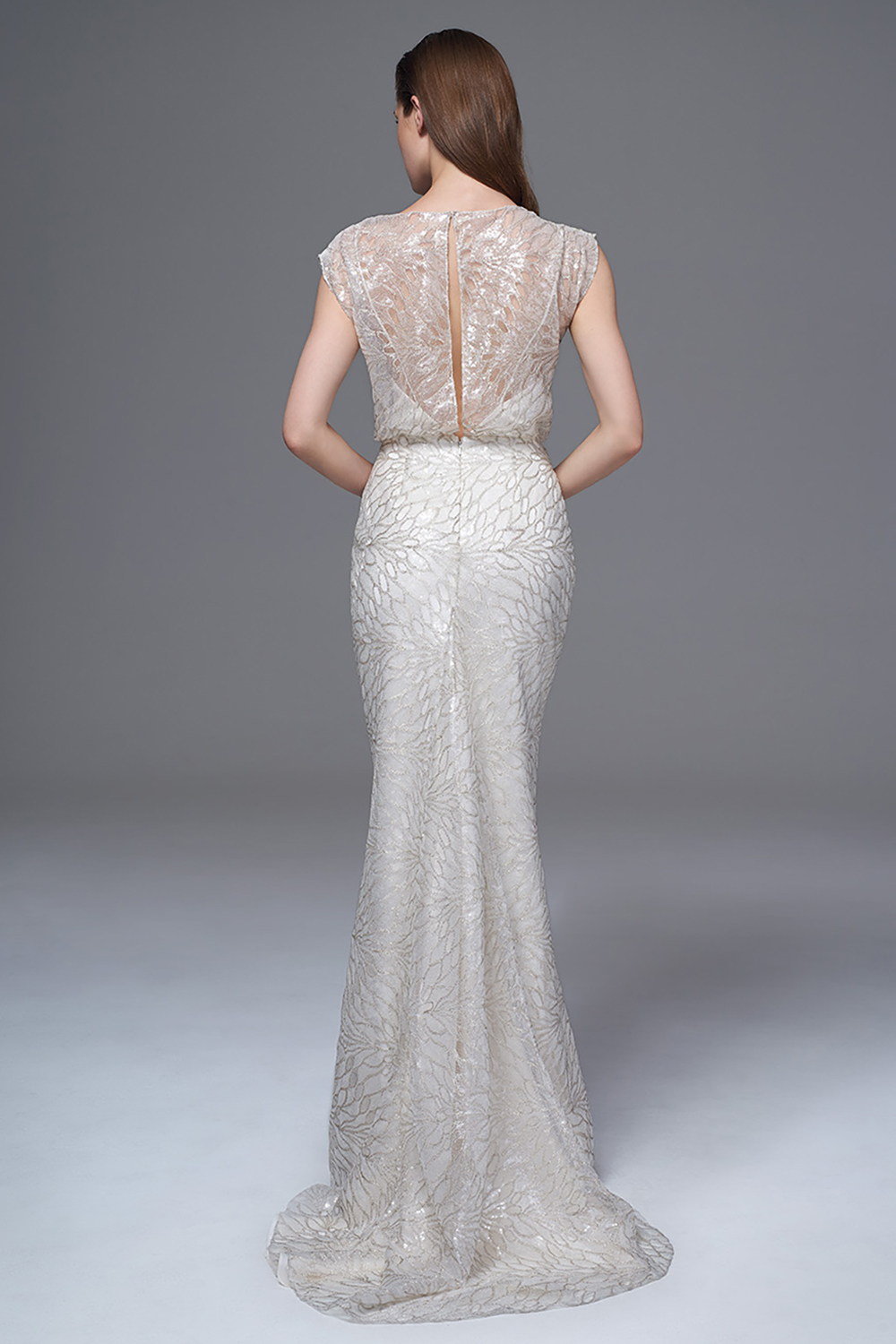 THE CHLOE SILVER SEQUINNED DRESS WITH SLASH NECK AND GODET TRAIN. BRIDAL WEDDING DRESS BY HALFPENNY LONDON