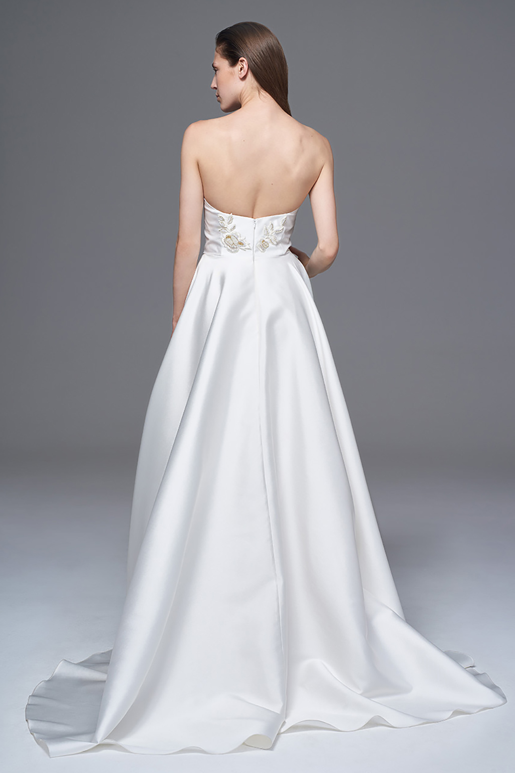 THE ELLIE STRUCTURED MIKARDO STRAPLESS DRESS WITH HAND BEADED EMBELLISHMENT. BRIDAL WEDDING DRESS BY HALFPENNY LONDON