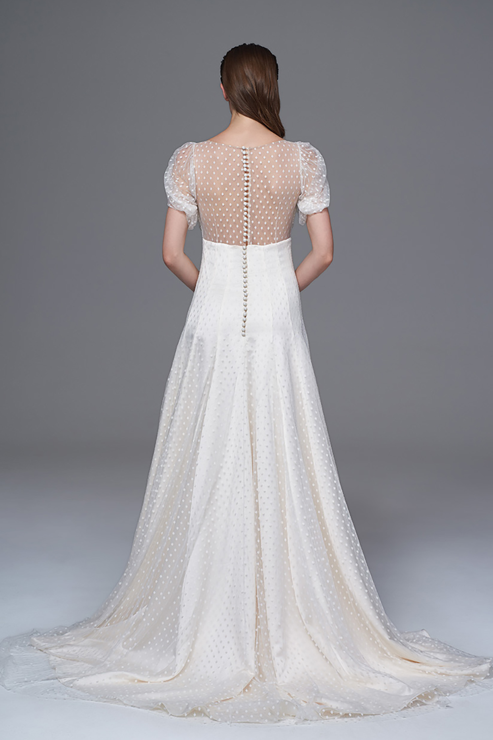 THE KATE MOSS SPOTTY TULLE DRESS WITH SOFT SLEEVES, BUTTON DETAILING AND SHEER BACK. BRIDAL WEDDING DRESS BY HALFPENNY LONDON