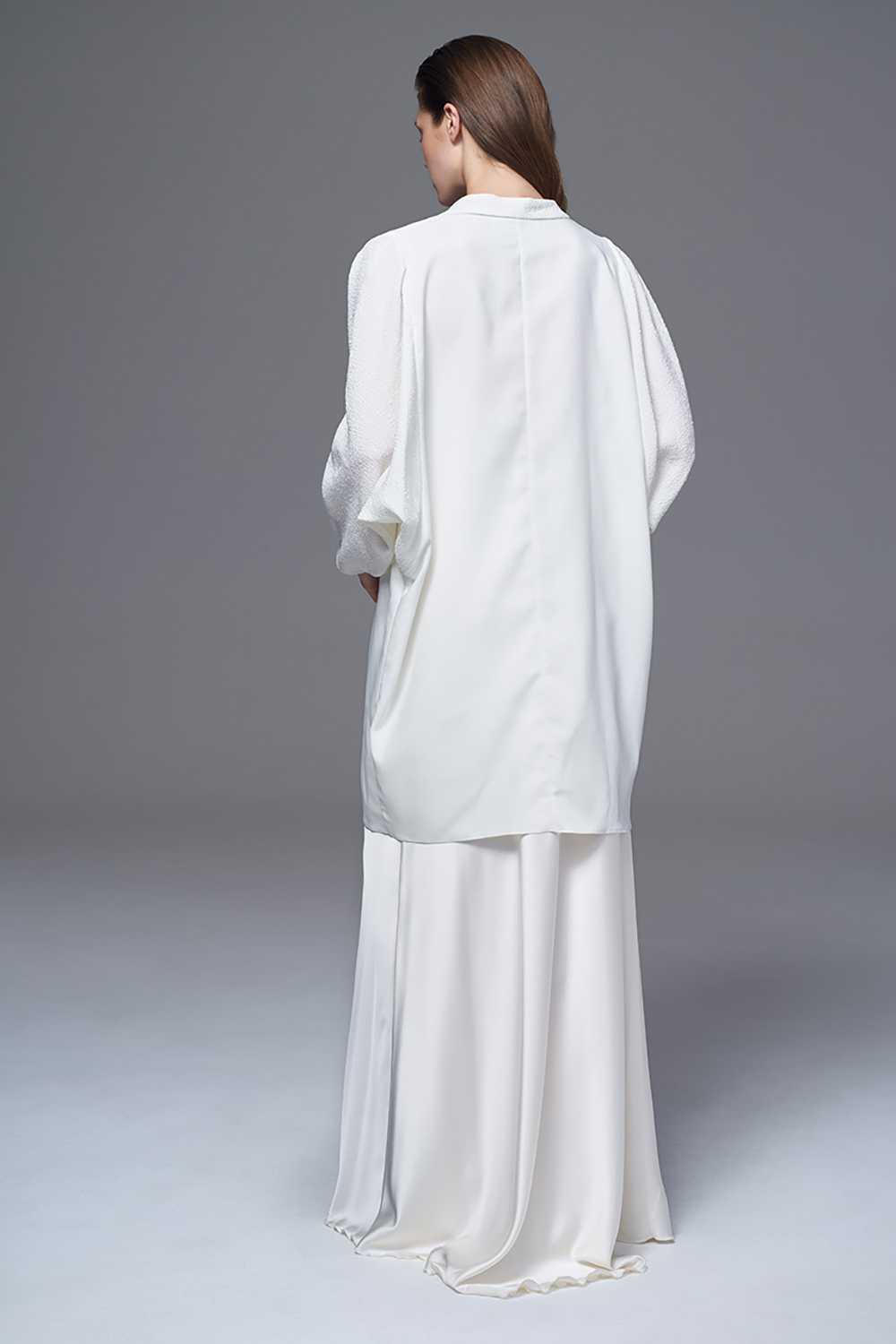 THE KIMONO IN FULL SATIN WITH BOXY SLEEVES. BRIDAL WEDDING DRESS BY HALFPENNY LONDON