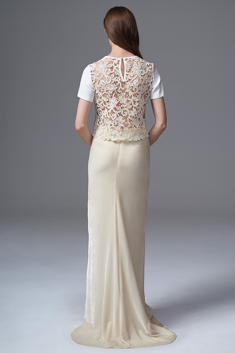 THE MARTHA FRENCH GUIPURE AND CREPE TEE WORN WITH THE CELINE VELVET SKIRT. BRIDAL WEDDING DRESS BY HALFPENNY LONDON