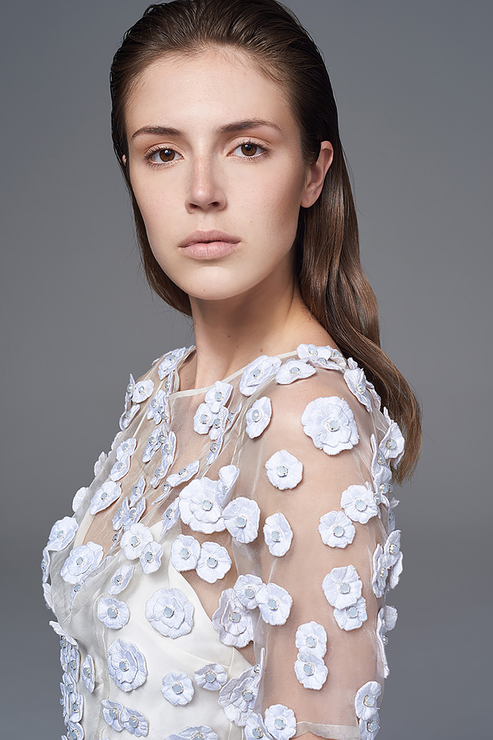 THE OPAL SHEER SILK ORGANZA DRESS WITH 3D FLOWERS AND OPAL STONE CENTRES. BRIDAL WEDDING DRESS BY HALFPENNY LONDON
