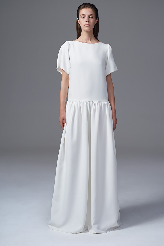 THE STELLA MATT CREPE BOXY DROPPED WAIST DRESS. BRIDAL WEDDING DRESS BY HALFPENNY LONDON